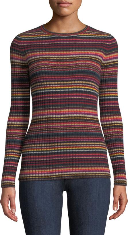 Autumn Cashmere Multi-Stripe Ribbed Cashmere Sweater