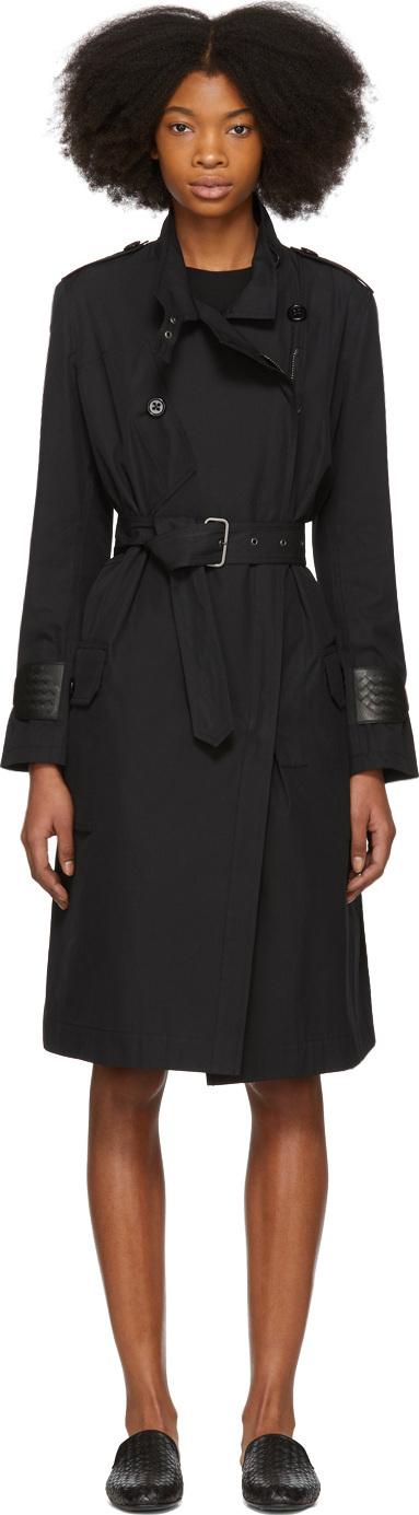 Bottega Veneta Black Intrecciato Cuff Trench Coat