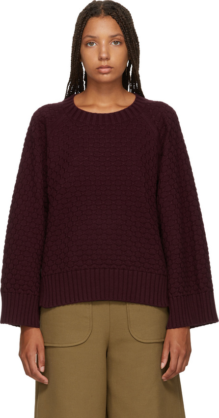 See By Chloé Burgundy Textured Knit Sweater