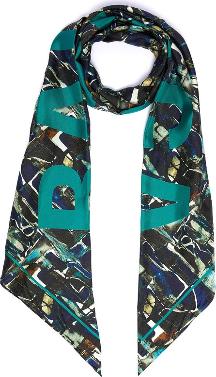Balenciaga Logo abstract graphic print silk twill scarf