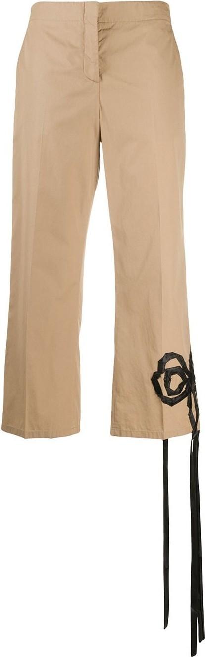 Nº21 Bow appliqué cropped trousers
