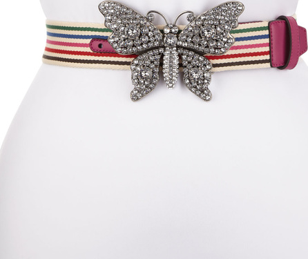 Gucci Animalier Striped Canvas Belt w/ Crystal Butterfly Buckle