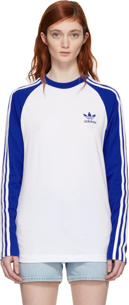 Adidas Originals White & Blue Long Sleeve 3-Stripes T-Shirt