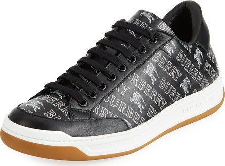 Burberry London England Men's Logo-Print Leather Low-Top Sneakers