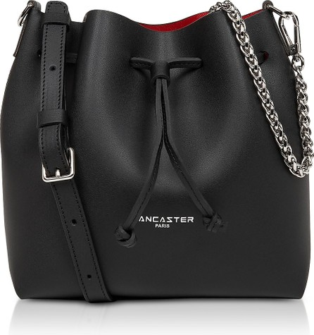 Lancaster Black Smooth Cow Leather Pur & Element Small City Bucket Bag