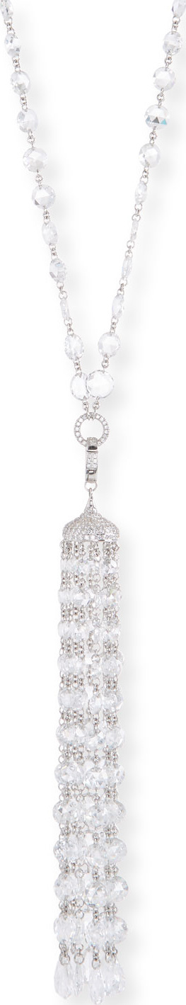 64 Facets 18k White Gold Diamond Tassel Pendant Necklace