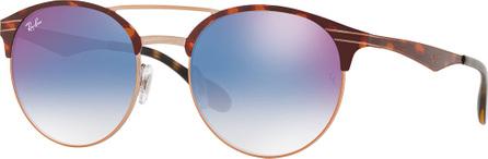 Ray Ban Club Round Mirrored Metal Double-Bridge Sunglasses