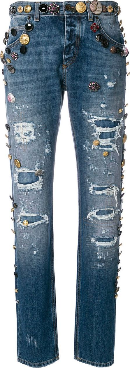 Dolce & Gabbana distressed jeans with embossed button detailing