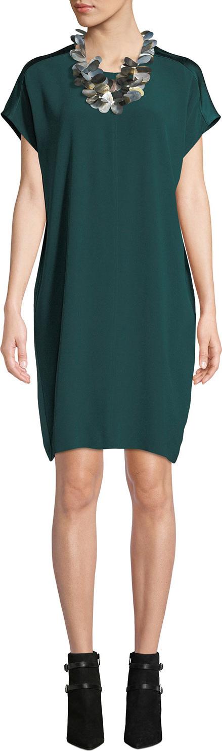 Eileen Fisher Silk Crepe Satin-Back Wedge Dress