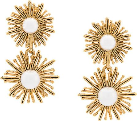 Oscar De La Renta pearl sun star pendant earrings