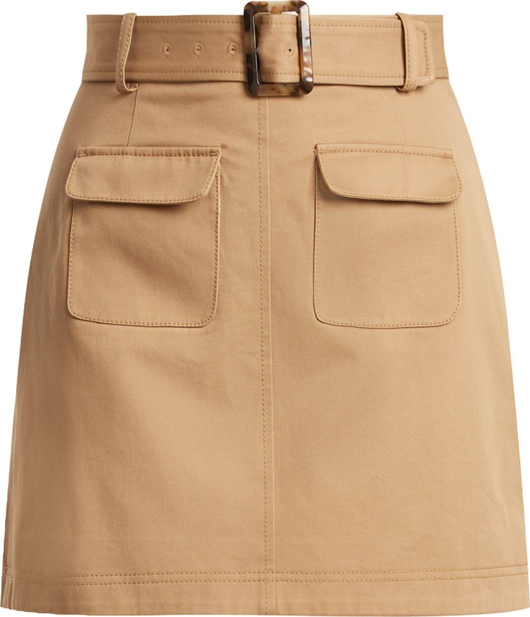 Alexachung - Patch-pocket A-line cotton mini skirt