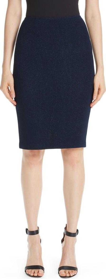 St. John Metallic Ottoman Wave Knit Pencil Skirt