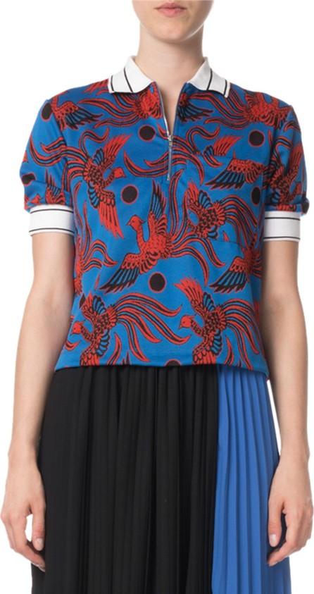 KENZO Phoenix-Print Quarter-Zip Cropped Polo Shirt