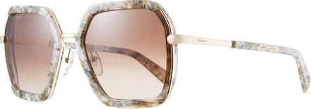 Salvatore Ferragamo Combo Square Acetate & Metal Sunglasses