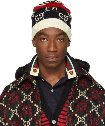 Gucci Navy & Red Knit GG Beanie