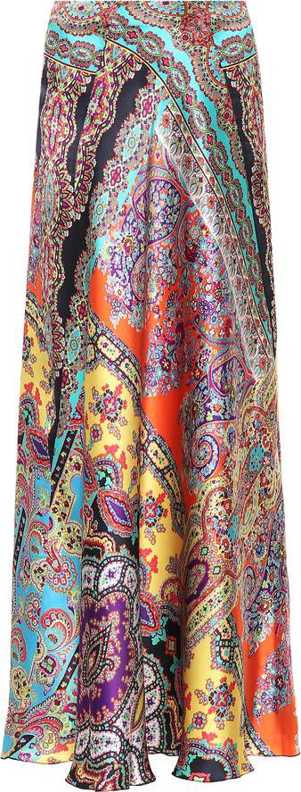 Etro Paisley silk-satin maxi skirt