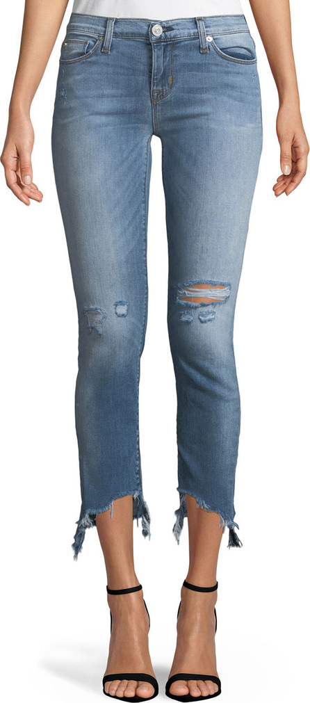 Hudson Tally Distressed Cropped Skinny Jeans with Chewed Hem