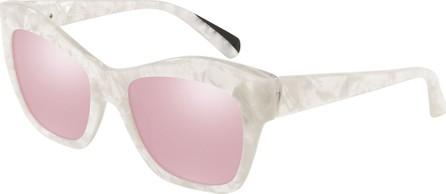 Alain Mikli Nuages Marbleized Acetate Square Mirrored Sunglasses