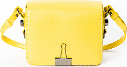 Off White Leather Flap Crossbody Bag with Binder-Clip Detail