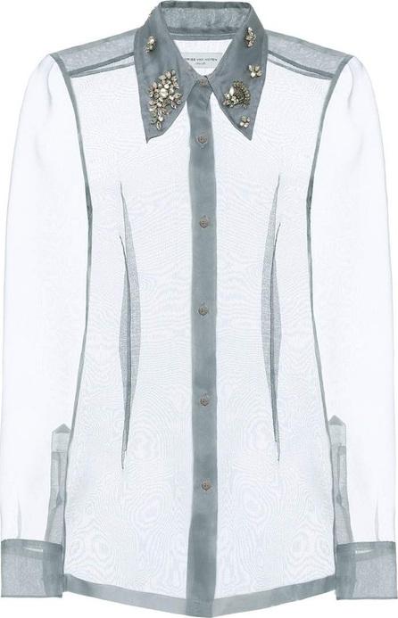 Dries Van Noten Embellished silk organza shirt