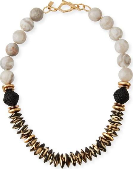 Akola Agate, Bone & Leather Necklace, White/Black