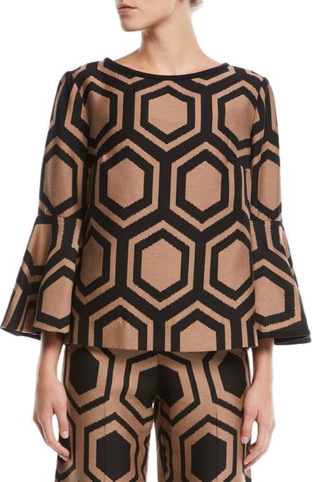 Trina Turk Geometric Top w/ Trumpet Sleeves