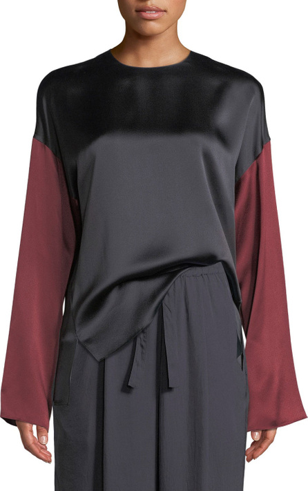 Colorblock Silk Long-Sleeve Blouse