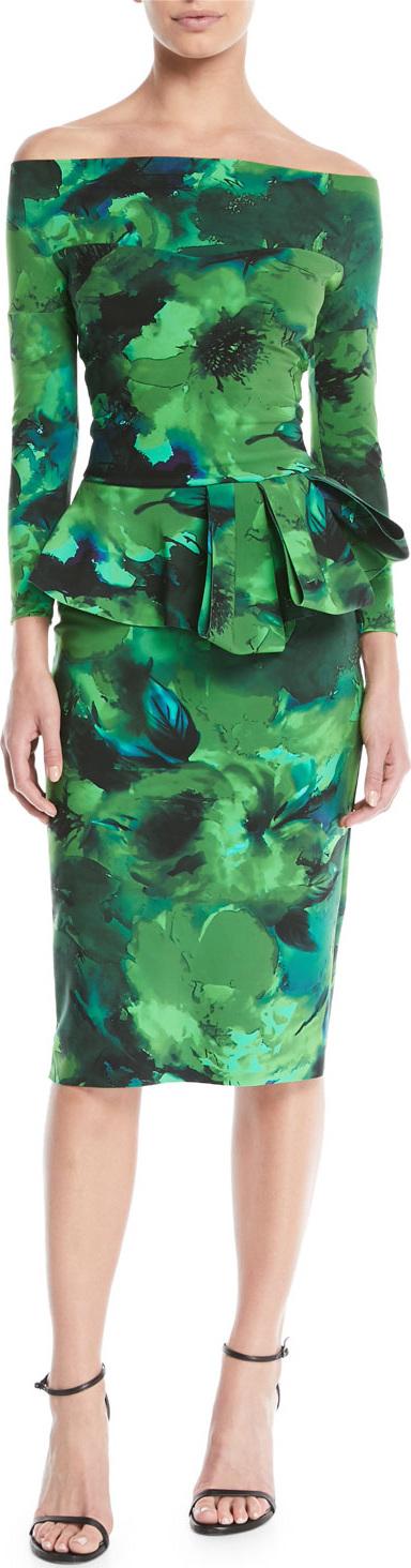 La Petite Robe di Chiara Boni Nabella Off-the-Shoulder Floral Peplum Dress