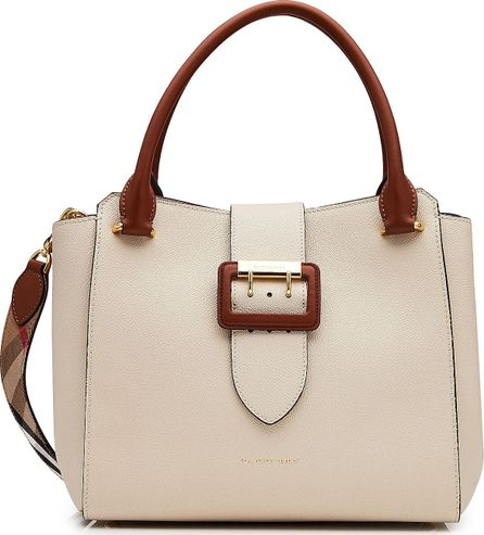 Burberry London England Leather Tote with Buckle Detail