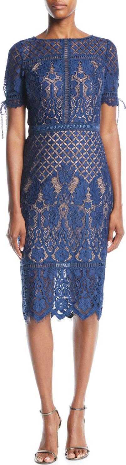 Tadashi Shoji Short-Sleeve Lace Dress w/ Tie Details
