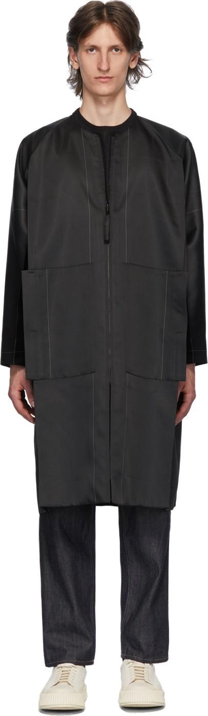 132 5. Issey Miyake Black & Grey Stitched Flat Coat