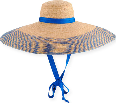 Lola Hats Nomad Wide-Brim Raffia Sun Hat with Ribbon