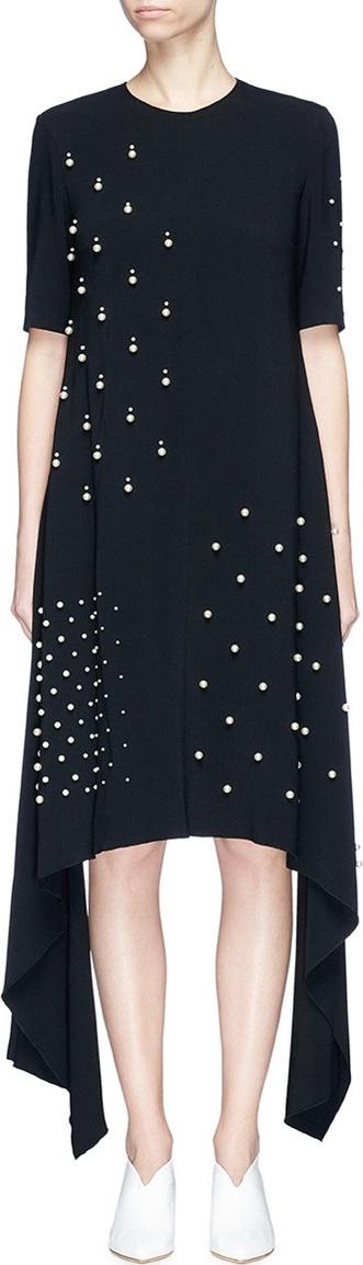 Stella McCartney Faux pearl embellished sash drape cady dress