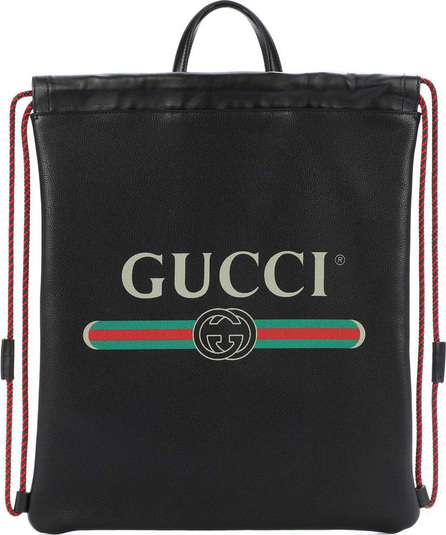 Gucci Printed leather drawstring backpack