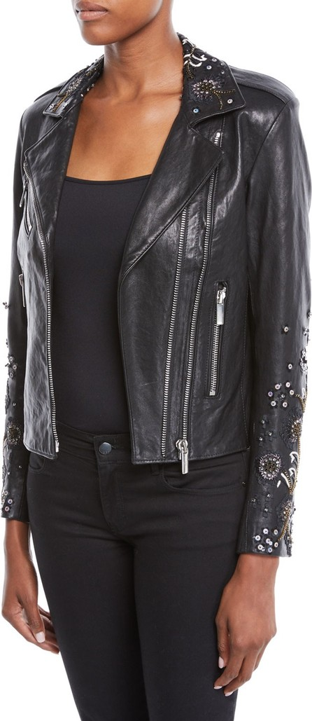 Nour Hammour Oceane Zip-Front Lambskin Leather Jacket w/ Sequin Embroidery