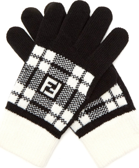 Fendi FF tartan wool gloves
