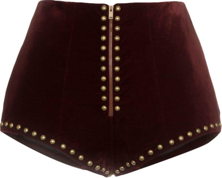 Saint Laurent High waist stud embellished velvet shorts