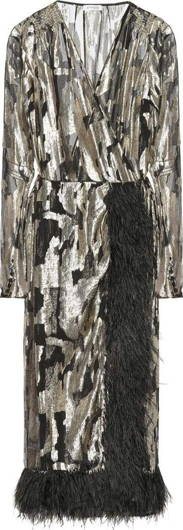Attico Feather-trimmed silk chiffon dress