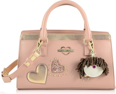 Love Moschino Pink & Gold Eco Leather Small Tote Bag w/Charm