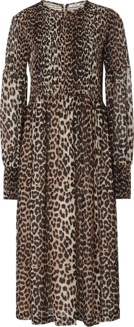 Ganni Smocked Leopard-Print Georgette Dress