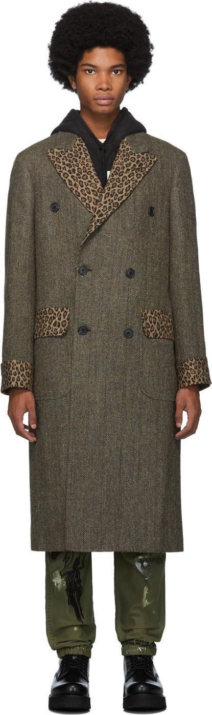 R13 Green Herringbone Double-Breasted Coat