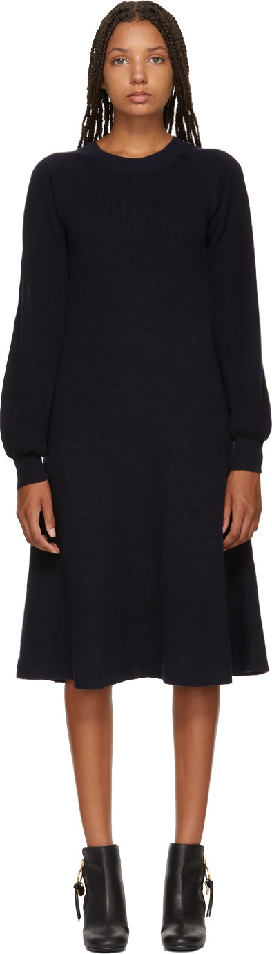 See By Chloé Navy Long Sleeve Sweater Dress