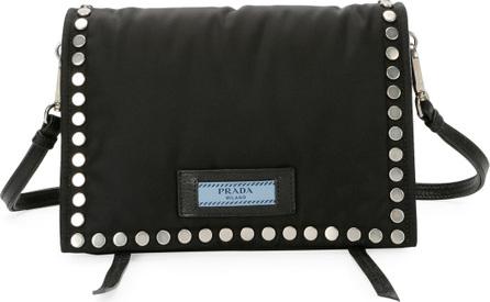 Prada Etiquette Small Studded Tessuto Shoulder Bag