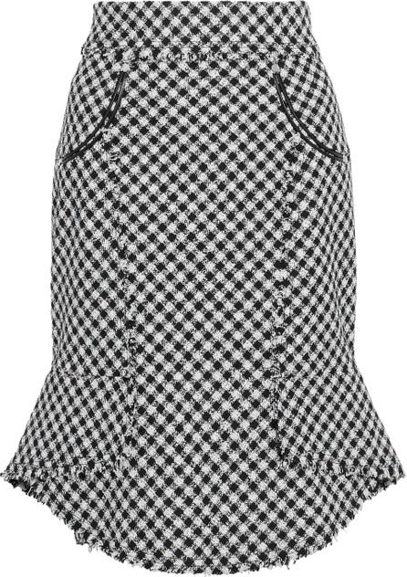 Alexander Wang Frayed gingham cotton-blend tweed skirt