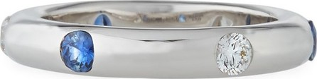 Adolfo Courrier 18K White Gold Band Ring with Inset Diamonds & Sapphire, Size 7