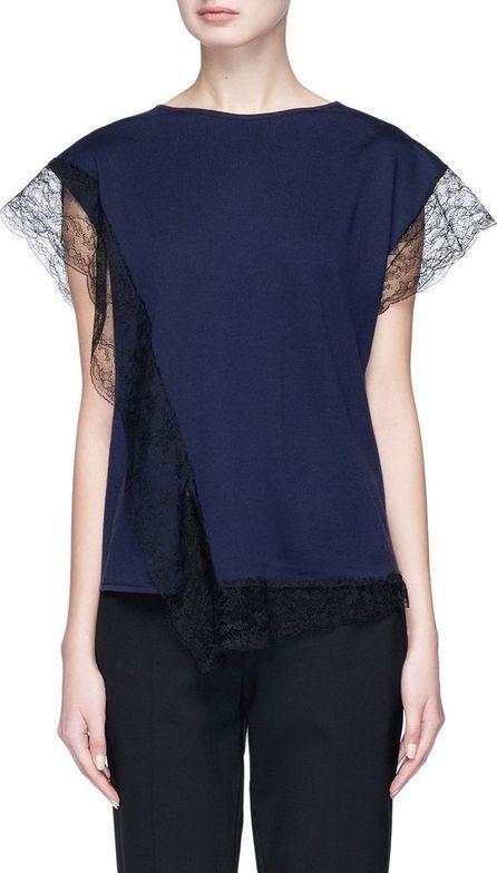 Lanvin Guipure lace trim wool blend top
