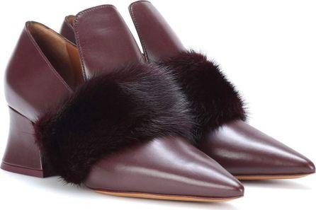 Givenchy Mink fur-trimmed leather pumps