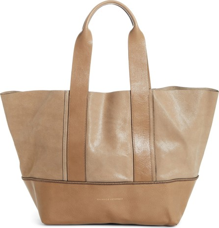 Brunello Cucinelli Monili Trim Contrasting Leather Shopper