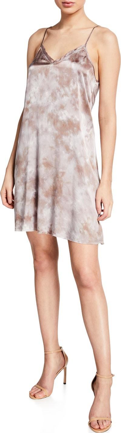 ATM Anthony Thomas Melillo Tie-Dye Silk V-Neck Short Slip Dress