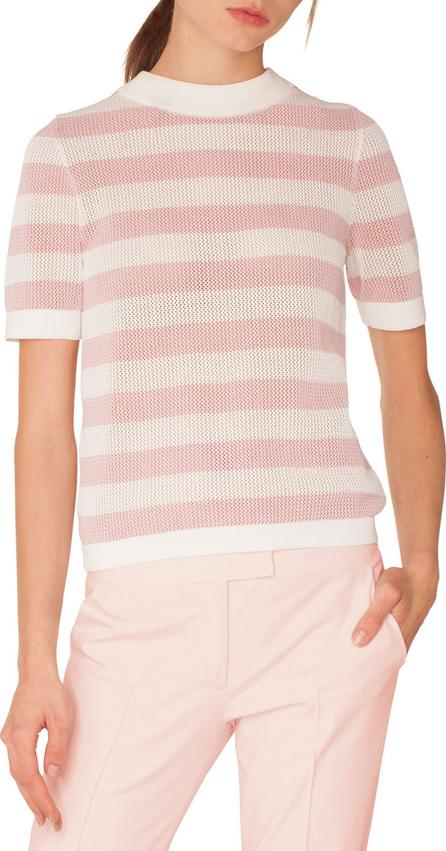 Akris Punto Crewneck Short-Sleeve Striped Knit Pullover Top